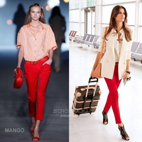 З чим носити червоні брюки влітку  укорочений 4abf72b75b5ec