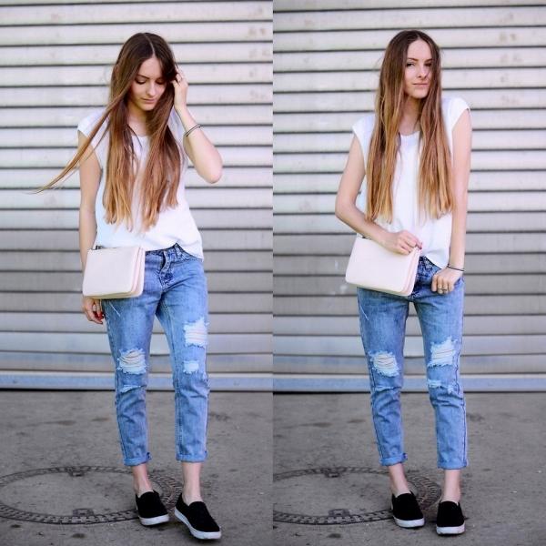Варіантів для носіння коротких джинсів маса. Вибір починається звичними  футболками різних кольорів і закінчується теплими затишними светрами. 05b1452d1b0df