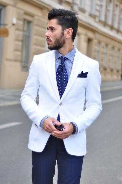 З чим носити чоловічий білий піджак e8e5574dee537