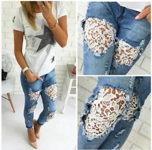 Как сделать латку на джинсах из кружева