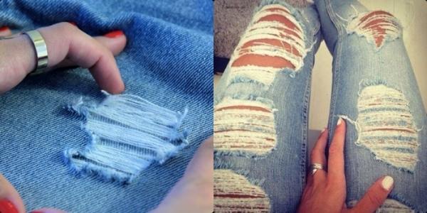 Дірки на джинсах своїми руками. Майстер клас 137528d2769bf